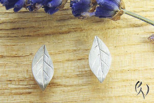 Ohrstecker Silber, kleines Herbstblatt