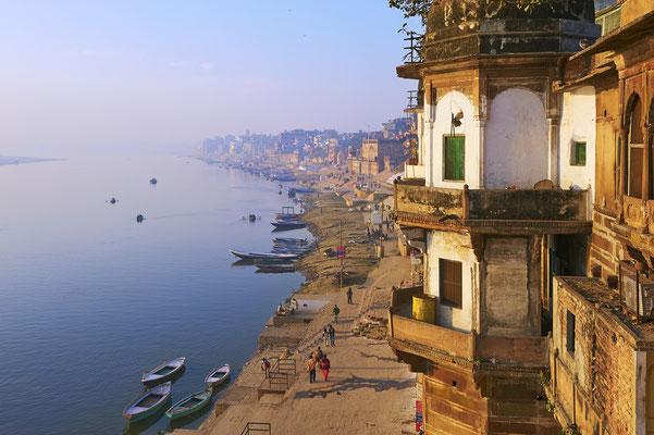 Blick von der Zimmerterrasse Hotel in Varanasi