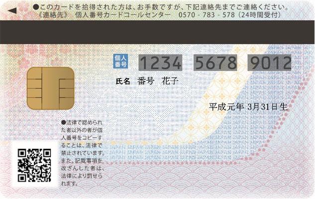 マイナンバーカード(裏面)