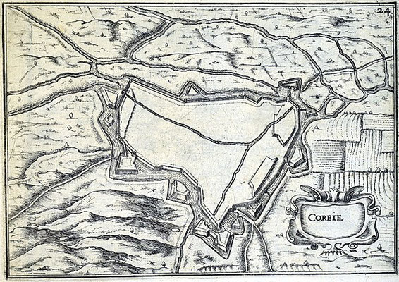 (DR) Corbie-1636-siègedecorbie-valdesomme-chambresdhotes-bedandbreakfast-guesthouse-gitedefrance-Fortifications de Corbie en 1634