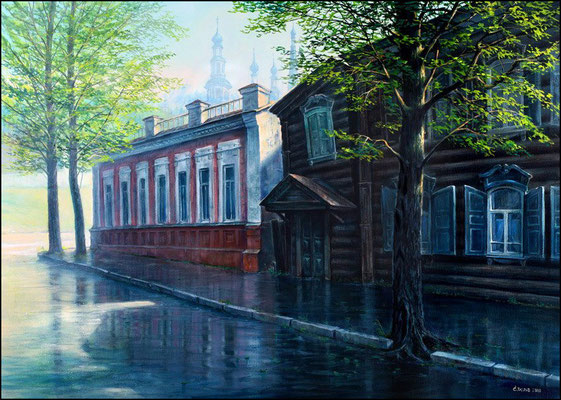 """После дождя""(Иркутск ул. Грязнова)холст/масло50см x 70см 2010 г."