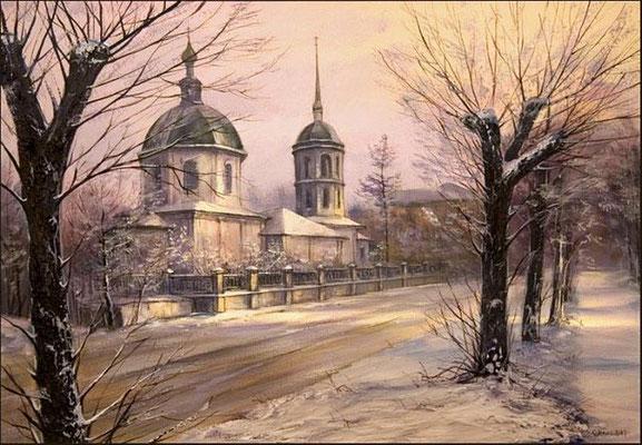 """""""Преображенская церковь"""" (Иркутск) холст,масло 40х60 2008"""