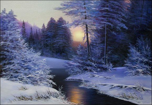 """""""Утро на реке Королок""""    холст/масло 45см x 65см 2008 г."""