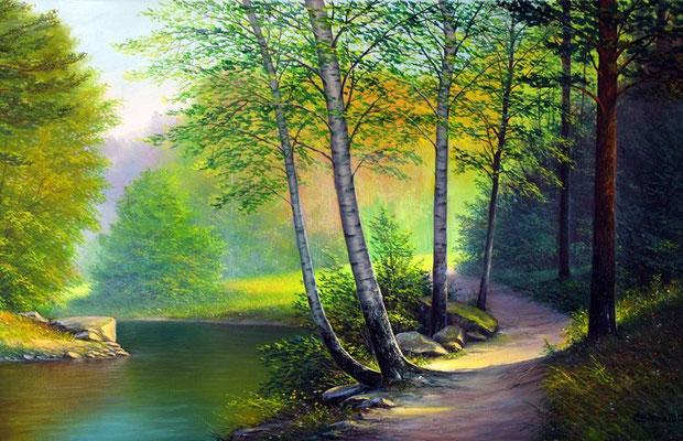 """""""Утро в лесу"""" х.м. 50х70 2012"""