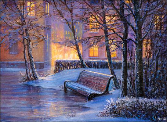 """Морозное утро"" холст,масло 30х40 2015"