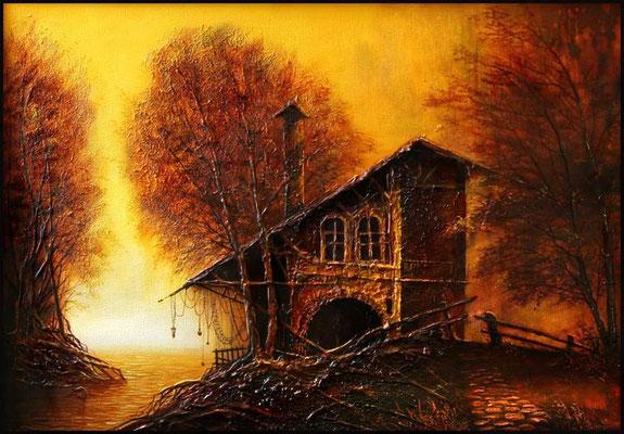 """""""Домик у реки"""" х.м.45см x 65см 2008"""