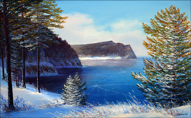 """Зима в бухте Сенной"" холст,масло 45х72 2012"