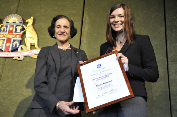 Nicole Kuepper recognised for her development of a revolutionary solar cell as a winner of the Tom Harvey Award for Citizenship in 2010