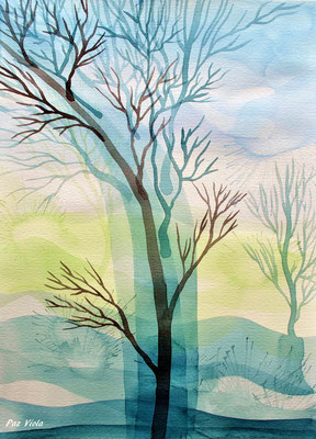 """winter trees"" series, 2015, contemporary watercolor"