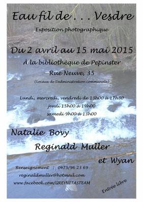 """Natalie Bovy - Reginald Muller -  Exposition """"Eau fil de ... Vesdre"""" à la bibliothèque de Pepinster"""