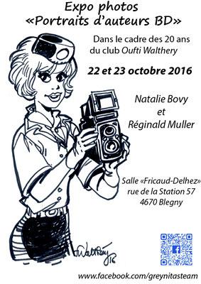 Natalie Bovy - Reginald Muller -  Exposition de photographies d'auteurs de BD dans le cadre du club de Francois Walthéry