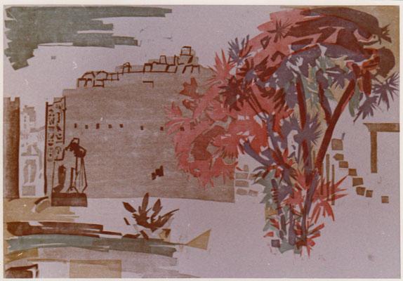 Karnak  8ter Pylon, Otto Eberhardt, 1961, Holzschnitt, Papier, 74x52, ID1178