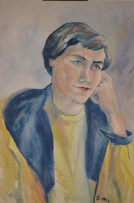 Bild einer Frau, Otto Eberhardt, 1954, Aquarell, Papier, 41,5x54cm, ID1058