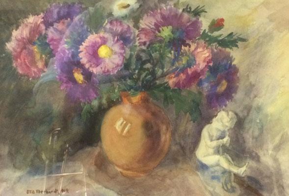 Blumen mit Engelchen, Otto Eberhardt, 1949, Aquarell, Papier, fehltcm, ID1461