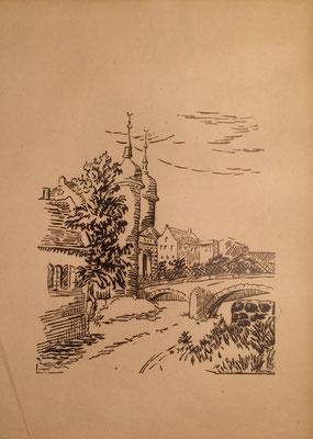 Heidelberg, Alte Brücke, Otto Eberhardt, 1950, Linoliumschnitt, Papier, 20,5x43cm, ID1613