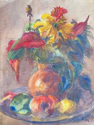 Blumen und Obst, Otto Eberhardt, 1954, Aquarell, Papier, 30x40cm, ID1846