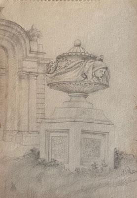 Vase vor Zirkelsaal, Otto Eberhardt, 1949, Zeichnung, Papier, 21x29cm, ID1799