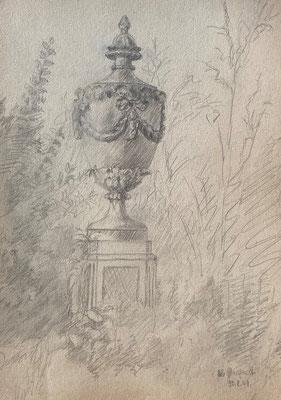 Vase in Schlossgarten, Otto Eberhardt, 1949, Zeichnung, Papier, 21x29cm, ID1767