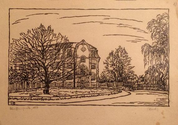 Südstadtschule, Otto Eberhardt, 1950, Linoliumschnitt, Papier, 27x16,5cm, ID1607