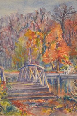 Schlosspark, Brücke, Otto Eberhardt, 1954, Aquarell, Papier, fehltcm, ID1055