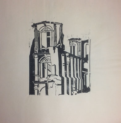 Karlsruhe Gottesau II, Otto Eberhardt, 1955, Holzschnitt, Papier, 30x40cm, ID1277