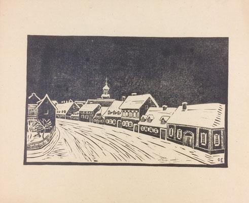 Karlsruherstraße, Otto Eberhardt, 1951, Linoliumschnitt, Papier, 24x15,5cm, ID1525