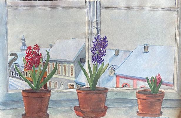 Blick aus dem Fenster, Otto Eberhardt, 1948, Aquarell, Papier, 41x27cm, ID1843