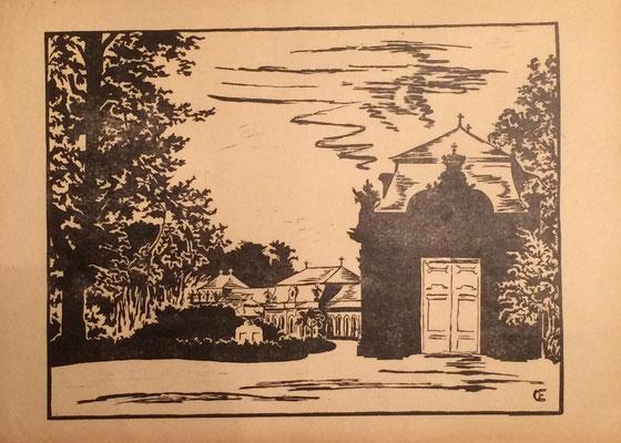 Zirkelsääle, Otto Eberhardt, 1950, Linoliumschnitt, Papier, 43x30,5cm, ID1612