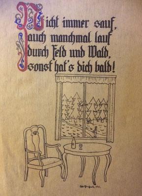 Nicht immer sauf, Otto Eberhardt, 1945, Aquarell, Papier, fehltcm, ID1555