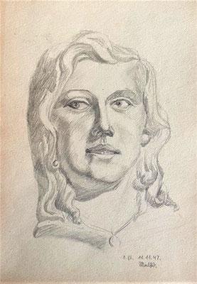 Frau, Otto Eberhardt, 1947, Zeichnung, Papier, 21x30cm, ID1797