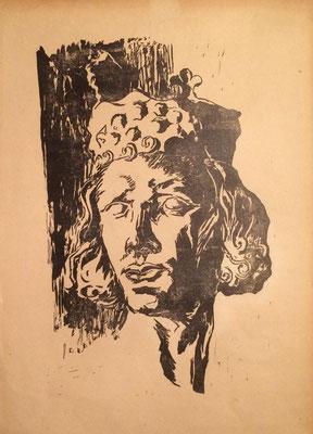 König, Otto Eberhardt, 1950, Linoliumschnitt, Papier, 30,5x43cm, ID1614