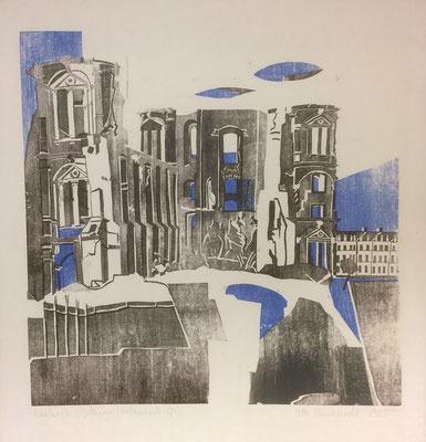 Karlsruhe Gottesau, Otto Eberhardt, 1955, Holzschnitt, Papier, 43,5x43,5cm, ID1232