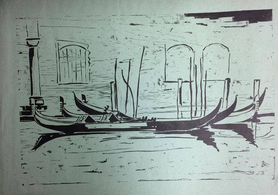 Venedig, Otto Eberhardt, 1951, Linoliumschnitt, Papier, 63x42, ID1255