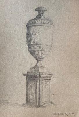 Vase in Schlossgarten II, Otto Eberhardt, 1949, Zeichnung, Papier, 21x29cm, ID1771