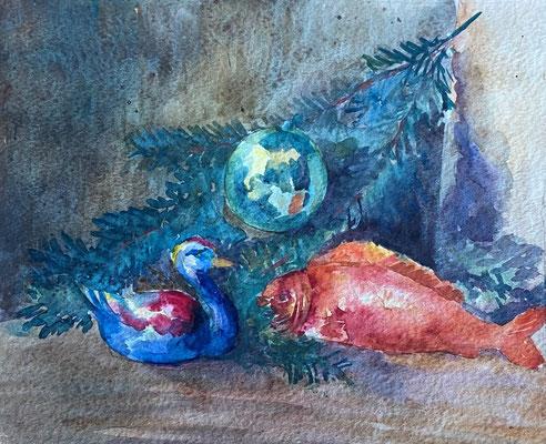 Fisch und Ente, Otto Eberhardt, 1949, Aquarell, Papier, 30x25cm, ID1826