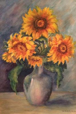 Sonnenblumen, Otto Eberhardt, 1948, Aquarell, Papier, 38x55cm, ID1618