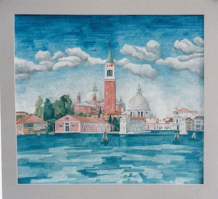 San Giorgio Maggiore und Salute von Riva die Partigiani, Otto Eberhardt, 2009, Aquarell, Papier, 74,5x67,5, ID1153