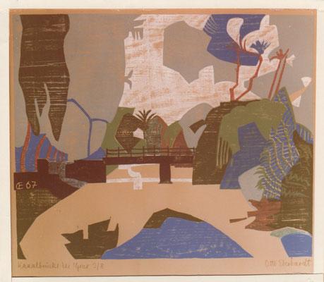 Kanalbrücke bei Gize, Otto Eberhardt, 1967, Holzschnitt, Papier, 75x61,5, ID1180