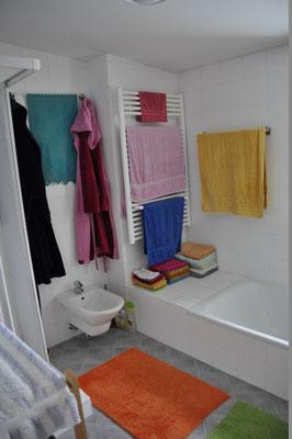 Bad mit Bidet, XL-Badewanne und Duschtasse. Die Heizung dient zugleich als Handtuchwärmer.