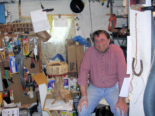 "I am sitting alongside ""The Sun King Drum"" in my cramped shop at the time, which is an extension off of the barn that we called the milk house, mentioned in the story."