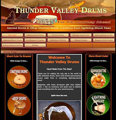 Homepage of Thunder Valley Drums as it is today.