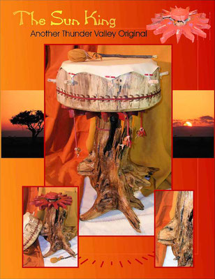 """""""The Sun King Drum"""" and its drum stand when finished."""