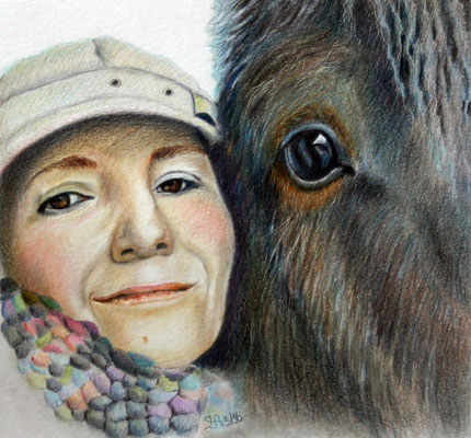 Petra und Shadow; Buntstift auf Zeichenpapier; Fotovorlage: Petra Hoffmann