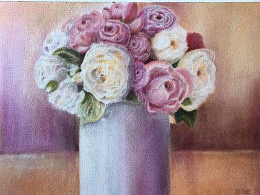 Pastel Dreams, Pan Pastels auf Arches Watercolour Paper, ca 30 x 40 cm; Fotovorlage: Karina Sturm, PMP
