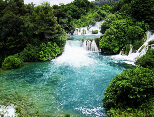 Beautiful waterfalls at Krka Lake National Park