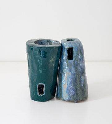 Zwillingstürme_Keramik, Glasur_13 x 13 x 8,5 cm