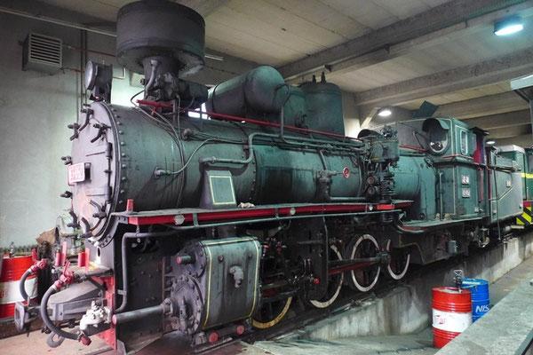 Im Lokschuppen der Schmalspurbahn bei Mokra Gora
