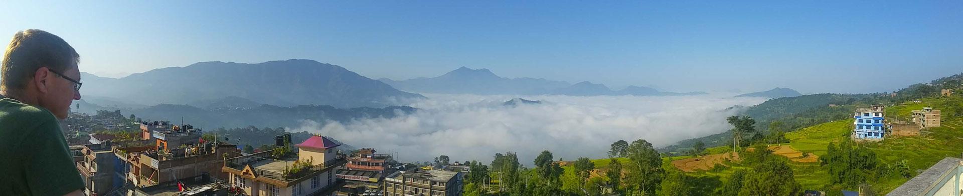 Blick auf das Tal unterhalb von Gorkha.