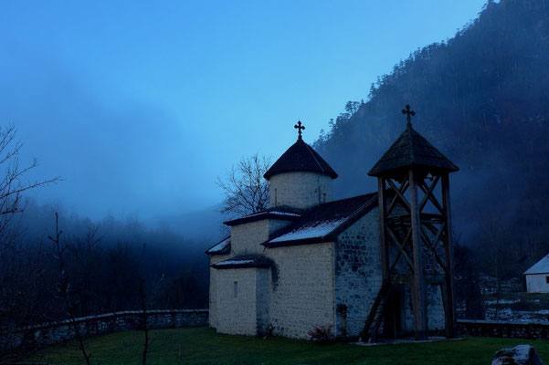 The Dobrilovina Kloster in the mist.