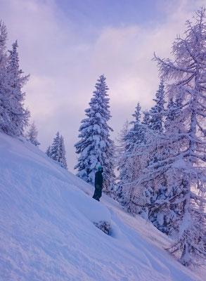 Um kurz drauf wieder in den Schnee zu fahren...